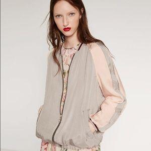 Zara two tone bomber souvenir jacket